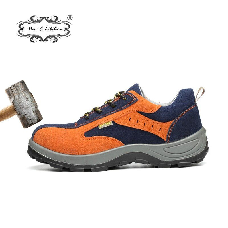 New Exhibition men Steel Toe safety shoes Anti-smashing breathable safety boots Durable work Protective Labor Insurance Shoes NE