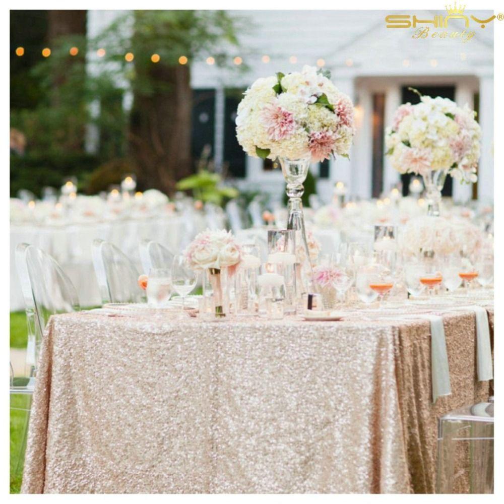 ShinyBeauty 48x72in Champagne/or/argent broderie maille Sequin nappe Sequin Table superposition pour décoration de mariage/fête