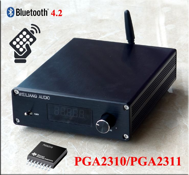 3 way stereo input PGA2310 + Bluetooth 4.2 +LCD display remote control Preamplifier completed in case