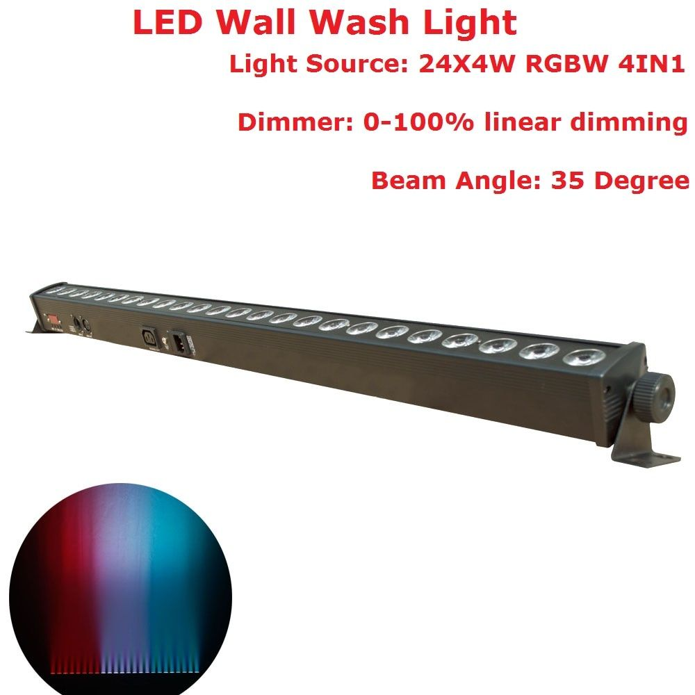 1 Pack DHL Ship DMX Bar Lights 24X4W RGBW 4IN1 LED Wall Wash Lights DMX512 Indoor Equipments Home Entainment Professional DJ