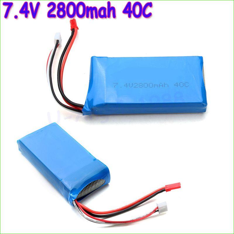 1 stücke Lipo Batterie 7,4 v 2800 mah 40C 2 s lipo batterie Für WLToys V262 V333 V323 V666 batterie für RC Hubschrauber Quadcopter großhandel