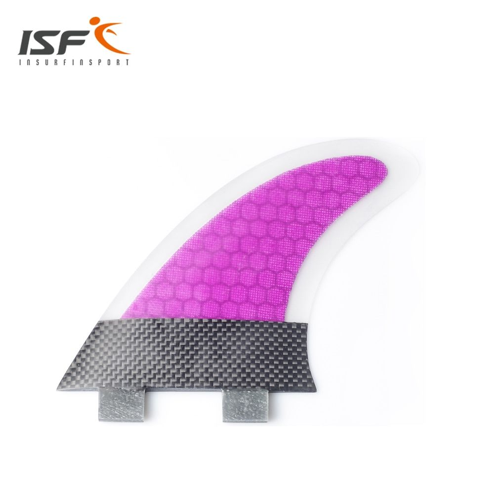 ISF new style fcs carbon fiber purple and orange quilhas surfboard fins thruster honeycomb surf fins fcs fins 3 piece M7 G7