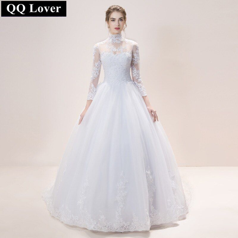 QQ Lover 2019 New High Neck See Through Back Full Sleeve Wedding Dress Lace Ball Gown Wedding Gowns Custom-made Vestido De Noiva