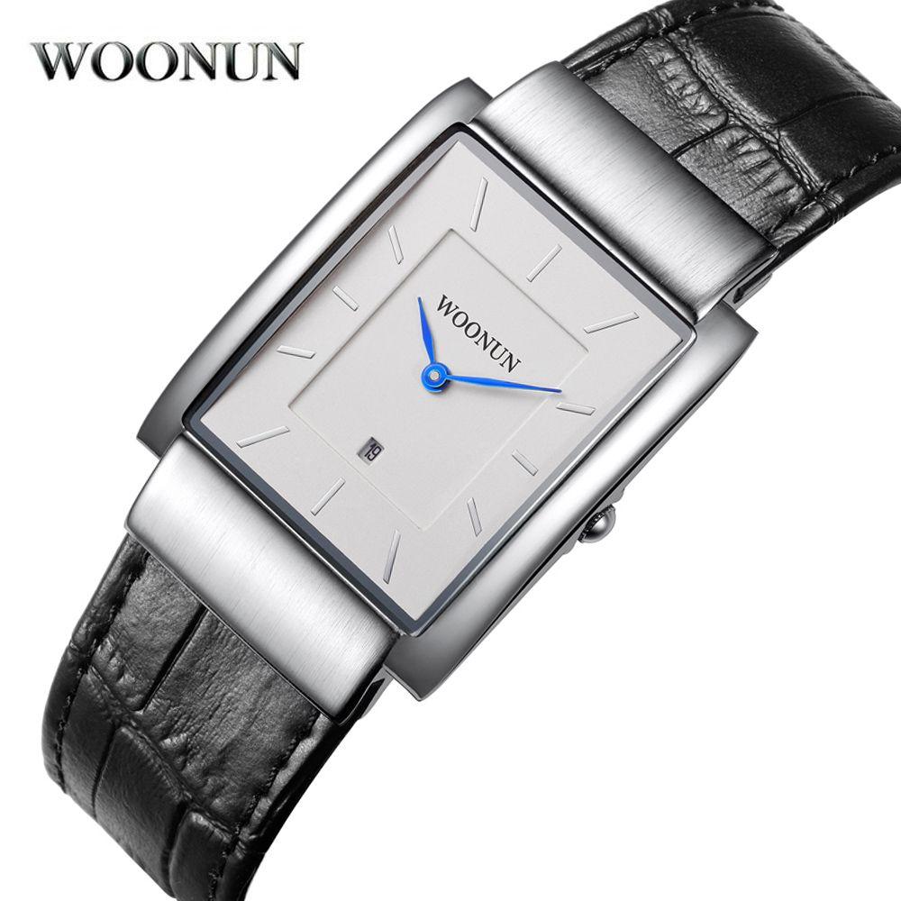 Nouveau 2018 Simple hommes montre WOONUN Top marque de luxe bracelet en cuir japon Quartz Rectangle montres hommes Super Slim montres pour hommes