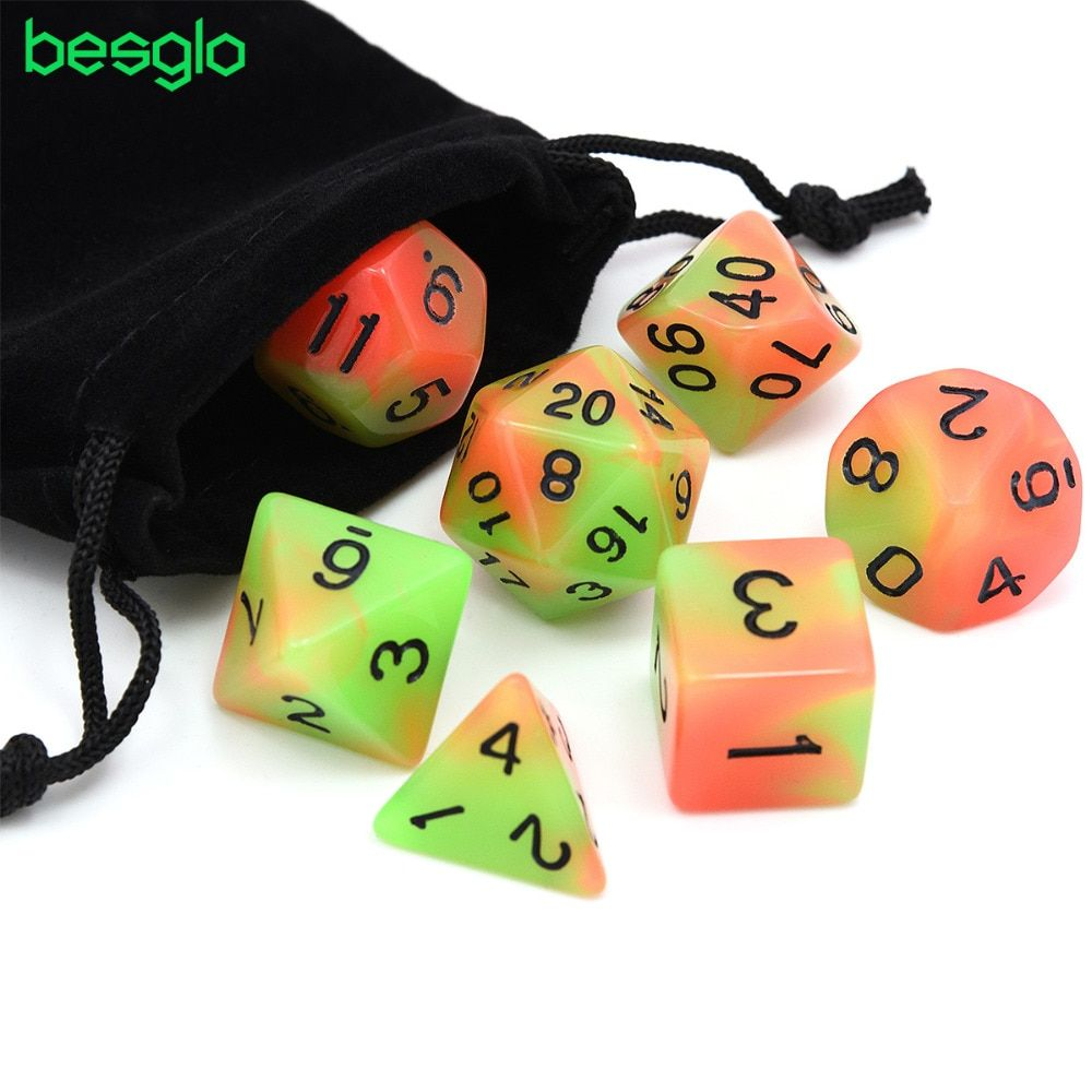 7pcs/set Glowing Polyhedral Dice Luminous DnD Dice Set for MTG DND Dungeons & Dragons Role Playing Game with Drawstring Bag