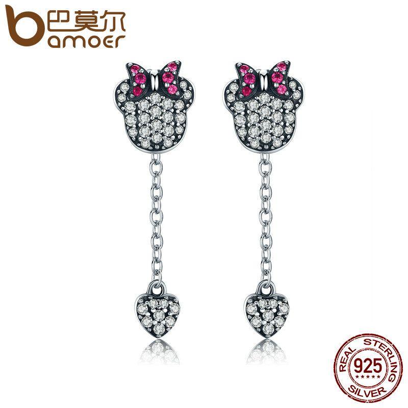 BAMOER Genuine 925 Sterling Silver Sparkling Cartoon & Heart Tassel Drop Earrings for Women Brincos Fine Jewelry Bijoux SCE143