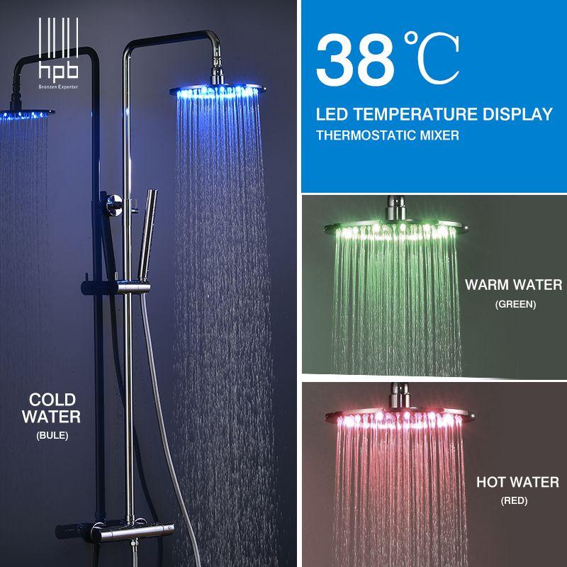HPB Messing Chrom Bad LED Thermostat Dusche Wasserhahn Set Mit 10 inch Runde Dusche Kopf Bad Dusche Mischbatterie HP8803