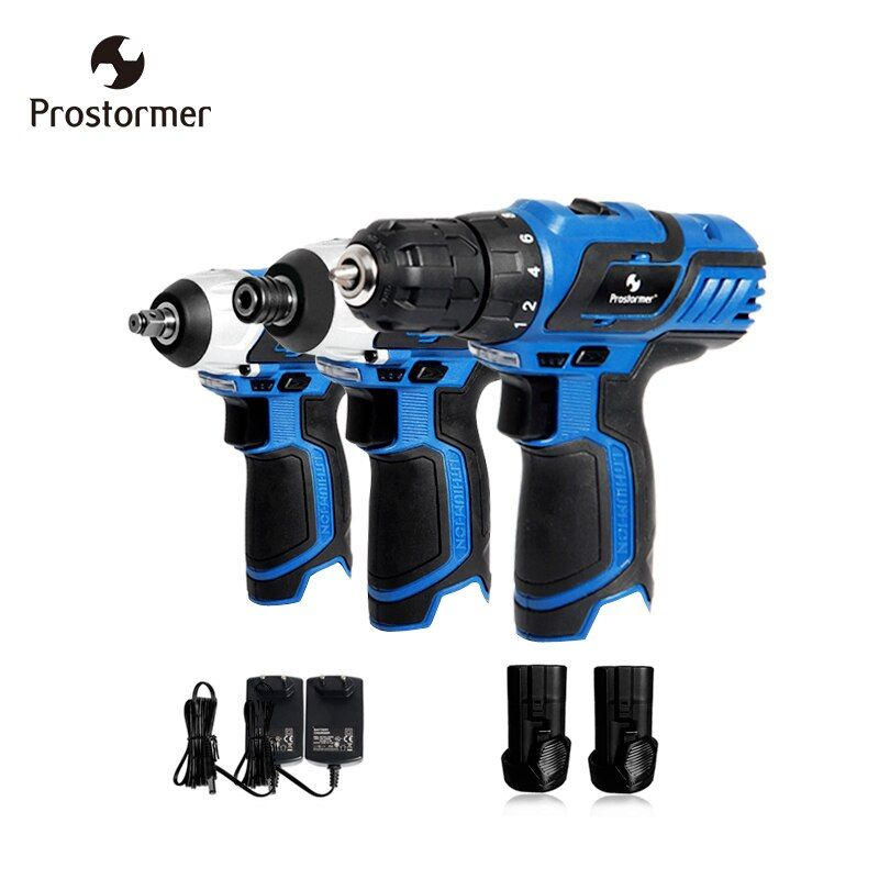 Prostormer 12V electric drill electric wrench electric screwdriver power tool kit universal two battery two charger
