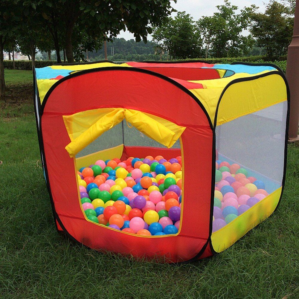Play <font><b>House</b></font> Indoor and Outdoor Easy Folding Ocean Ball Pool Pit Game Tent Play Hut Girls Garden Playhouse Kids Children Toy Tent