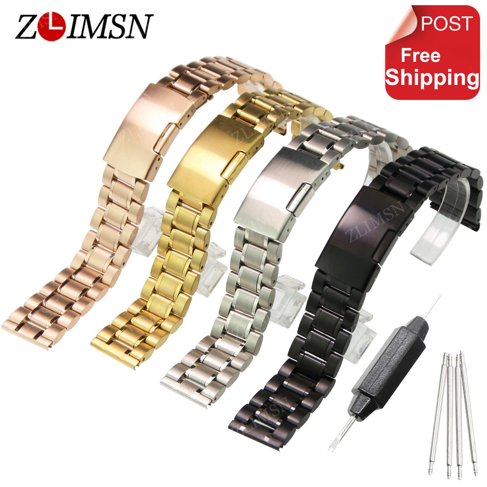 ZLIMSN 316L Stainless Steel Watch band Silver Black Rose Gold Watch Strap Bracelet Men Watchband 18 20 22 24mm Relojes Hombre