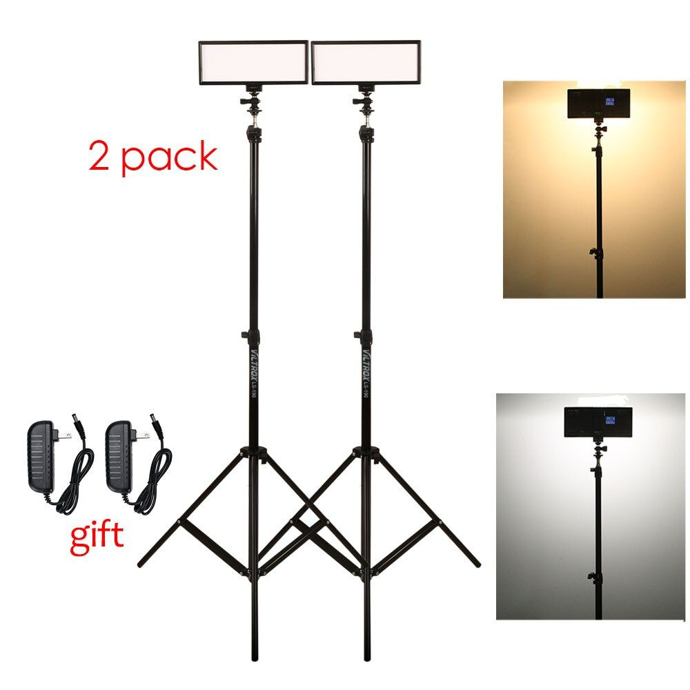 Photo Studio set 2x Viltrox L132T Bi-Color Dimmable LED Video Light + 2x Light Stand +2x AC Adapter for DSLR Camera Photo