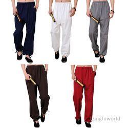 100% Katun Celana seni Bela Diri Wushu Wing Chun Kung fu Tai chi Celana
