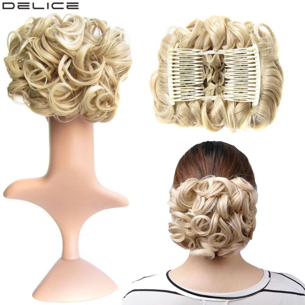 Delice élastique élastique filet bouclé Afro Chignon avec deux peignes en plastique Updo couverture désordre Chignon synthétique cheveux pièces