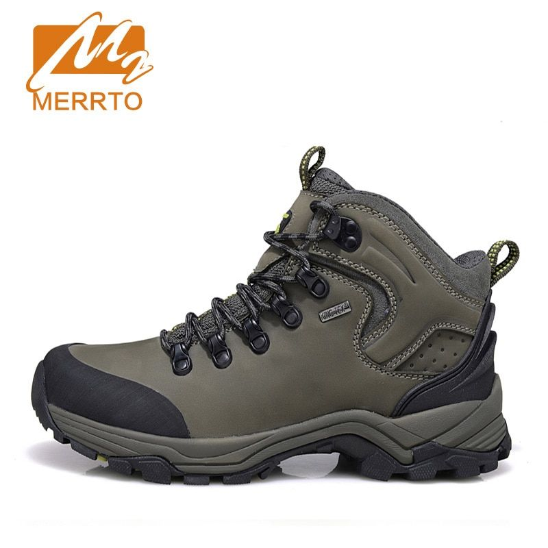 MERRTO Brand Man Genuine Leather Waterproof Hiking Boots Outdoor Hiking Shoes For Men Breathable Walking Trekking Shoes