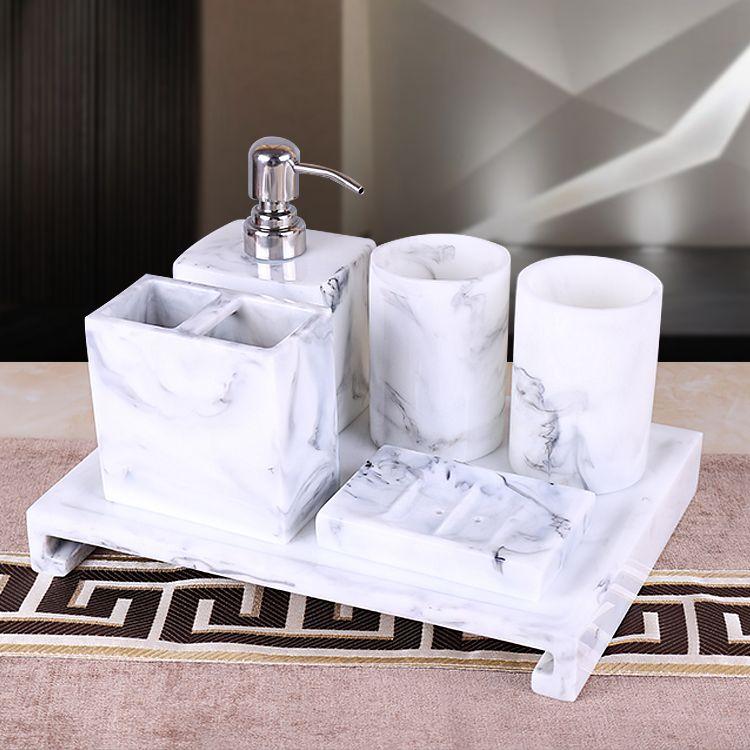 5 or 6 pcs set resin marble design bathroom accessaries set: 1 Liquid bottle + 2 cups +1 Toothbrush holder+1 soap dish