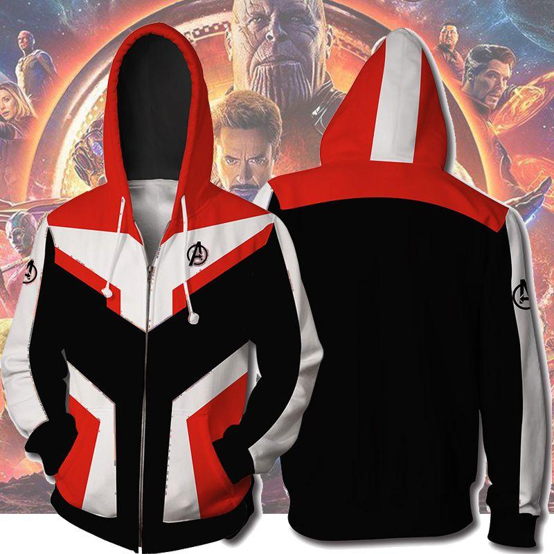 Avengers Endgame Cosplay Quantum Realm Costumes Sweatshirt Hoodie Jacket Captain Marvel Tech Hooded Superhero America Zipper