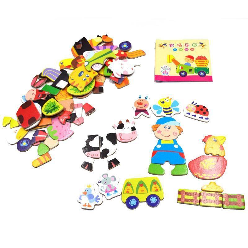 SSTB Éducatifs Multifonctionnels Animaux Lettres Alphabétiques Numéros Magnétique Puzzle Jouets pour Enfants Réfrigérateur Aimants