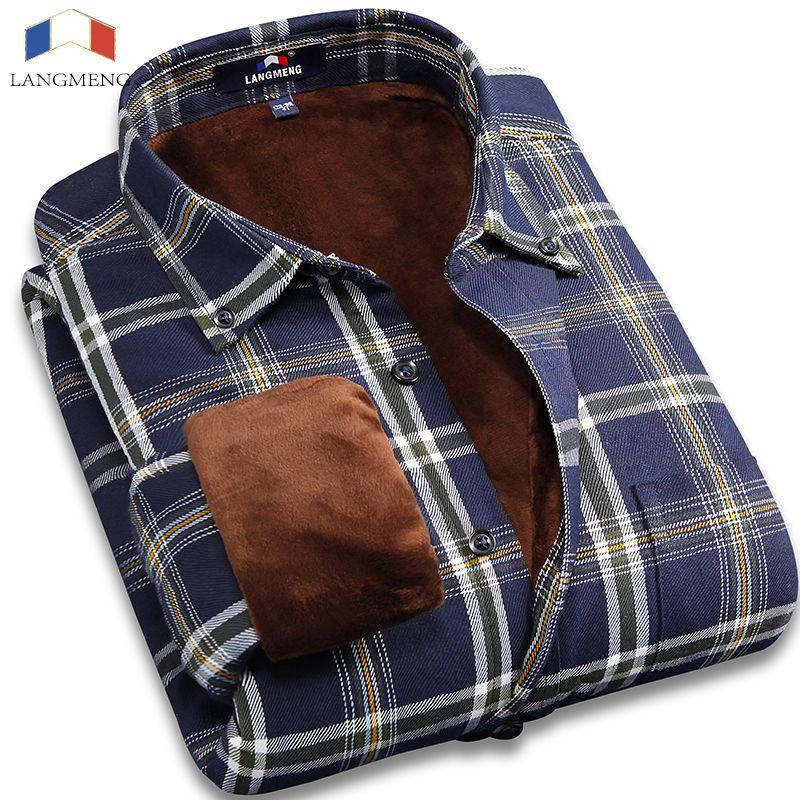 Langmeng 2017 men plus size 5XL winter super warm men plaid shirts wholesale men dress shirts long sleeve casual shirt camisa