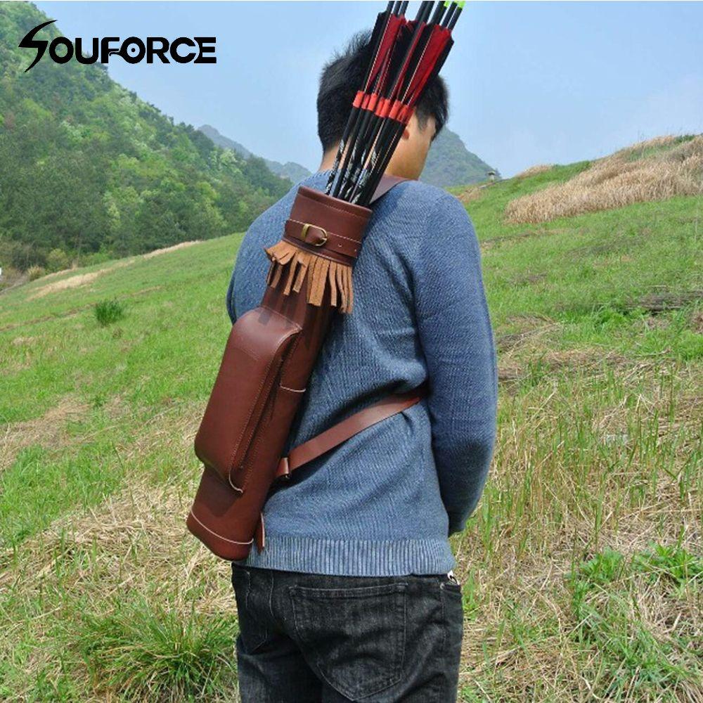 53*12 cm Pfeil Köcher Kuh Leder Pfeil Tasche in Braun für Bogen Bogenschießen Jagd Schießen