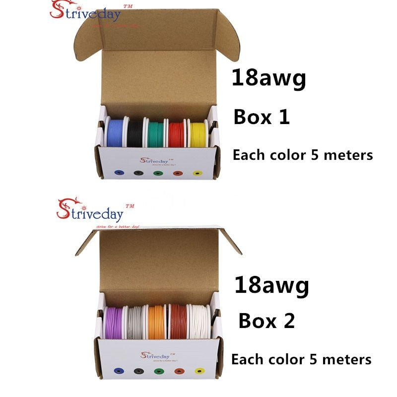 50 m( 10 colors Mix box 1+box 2 Stranded Wire Kit) 18AWG Flexible Silicone Rubber Wire Tinned Copper line 16.4 feet each colors