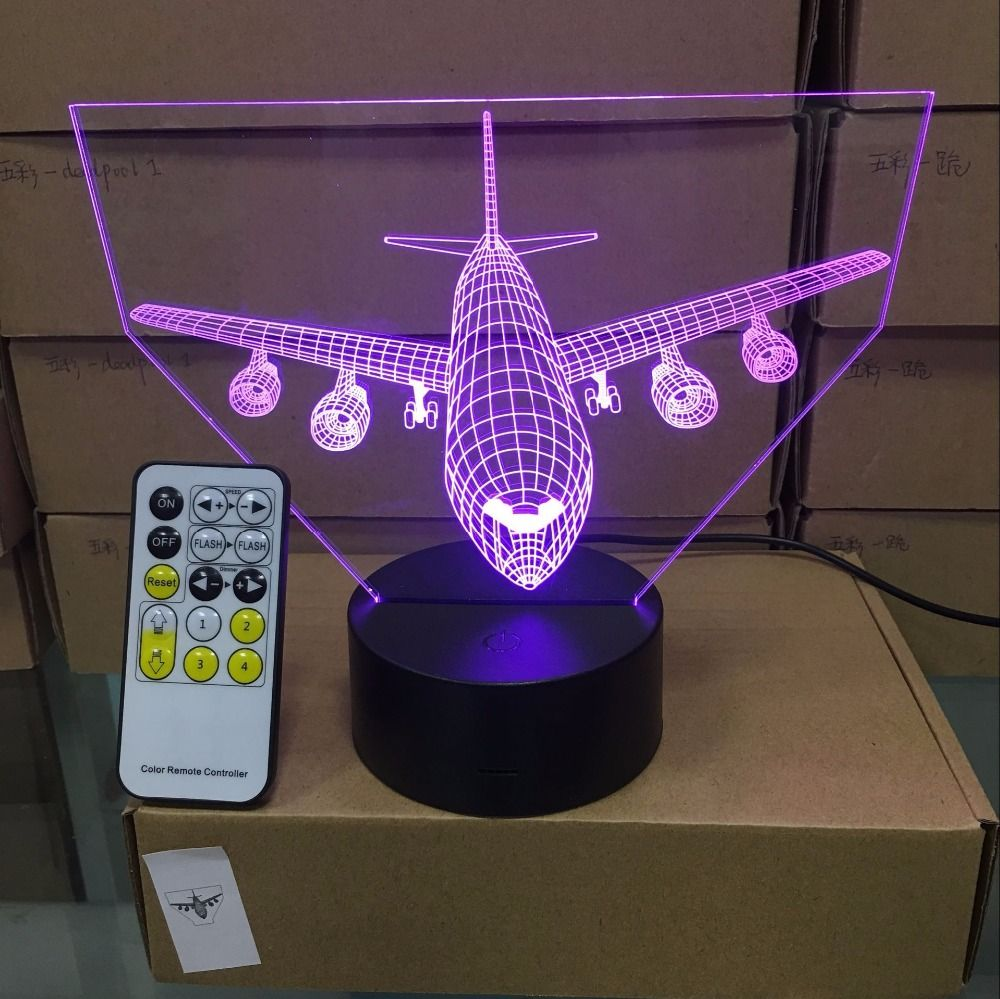 Remote Control Air Plane 3D Light LED Table Lamp Optical Illusion Bulbing Night Light 7 Colors Changing Mood Lamp USB Lamp