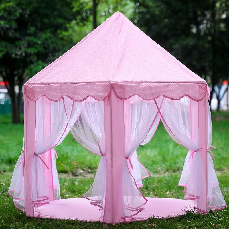 Pink Portable Princess Castle Tent Children Activity <font><b>Fairy</b></font> House Funny Indoor Outdoor Playhouse Baby Beach Tent Toy (No balls)