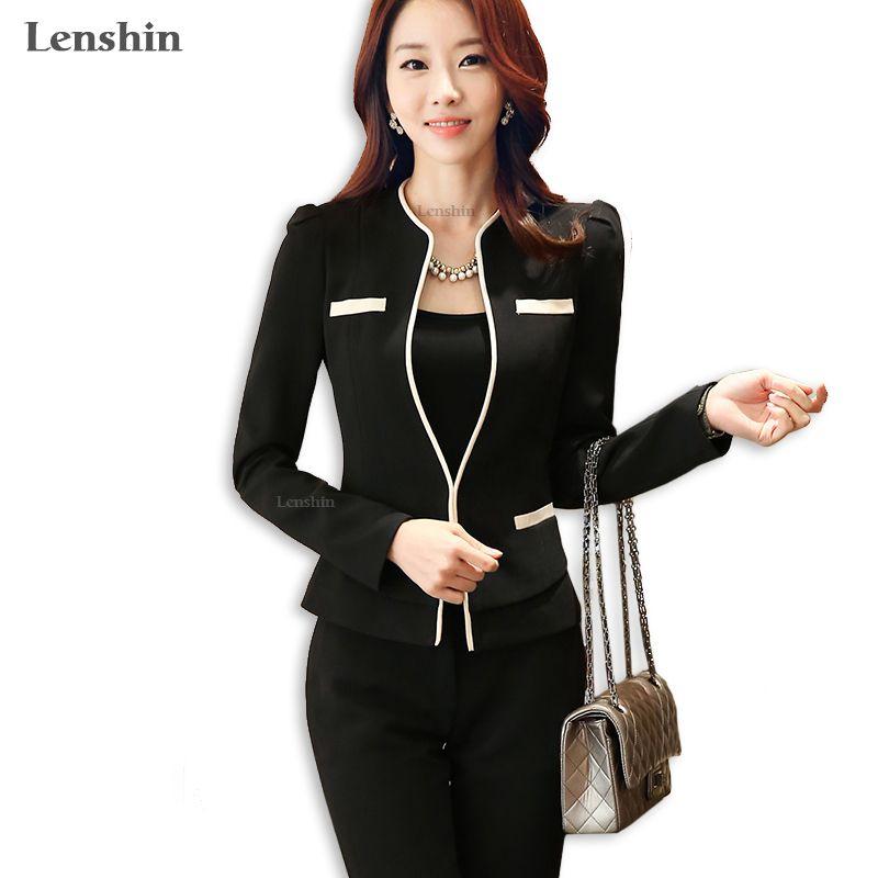 Lenshin 2 piece Sets Pant Suit Formal Lady Office Uniform Designs Woman Business Suits Elegant Work Wear Trousers Blazer