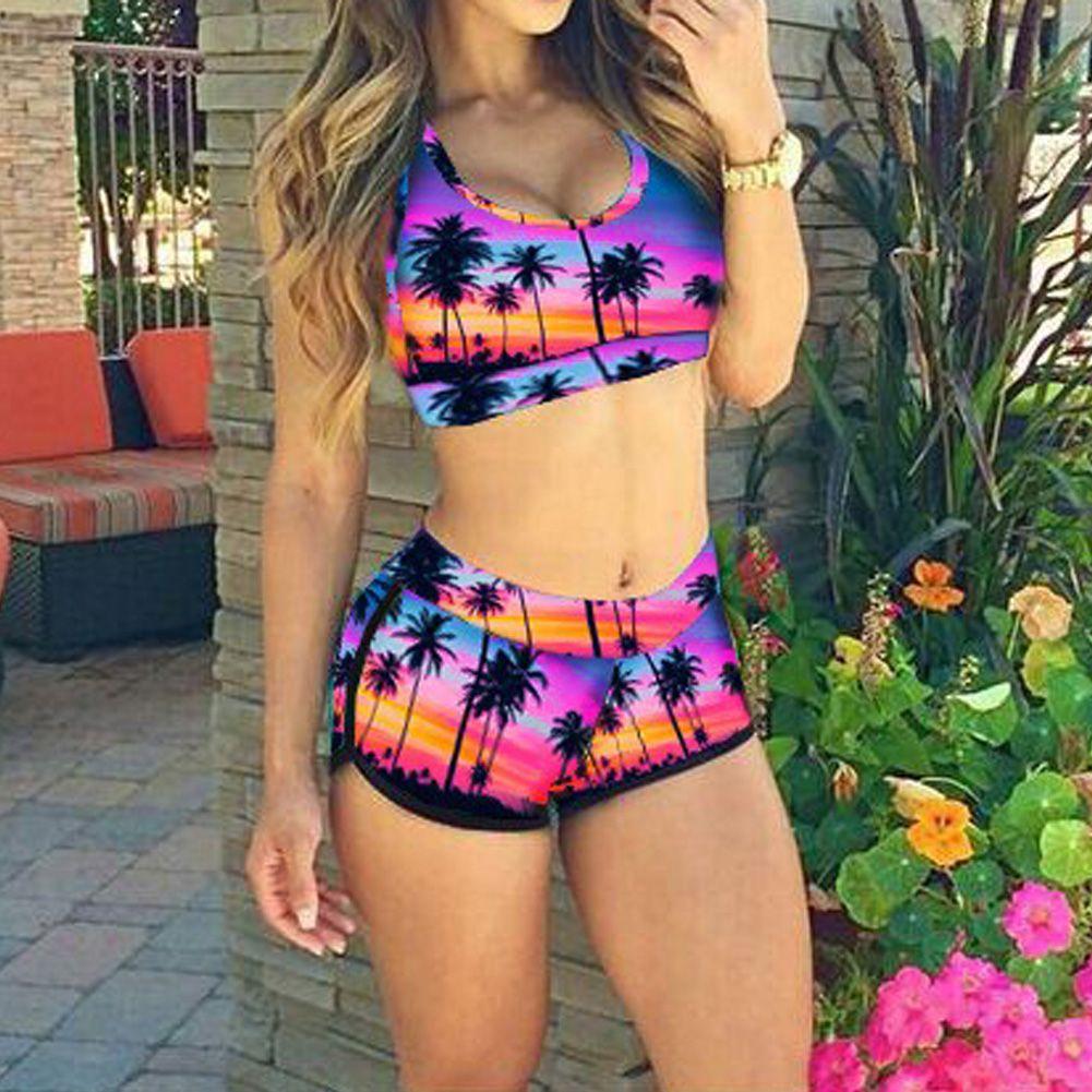 Plus Size 4XL Bikini Women Swimwear Tree Printed Bikini Push Padded Bra High Waist Beachwear Bathing Suit maillot de bain femme