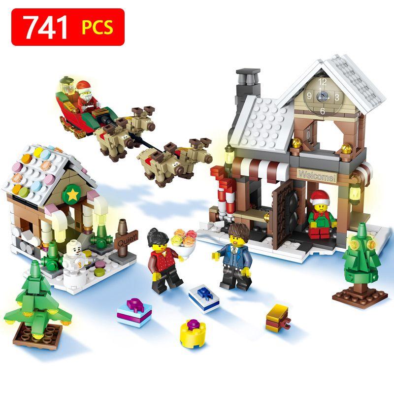 741pcs Snowman Model LegoINGlys Christmas Santa Claus Coming Figure Elk and Sled Building Blocks Set Model Kits Toys for Kids