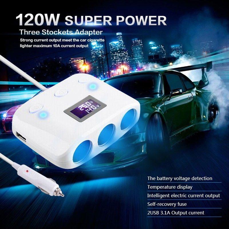Car 3 Stockets Adapter Lighter Extension Socket Splitter Lighter 10A Current Output Power 2 USB Charger 12V 120W
