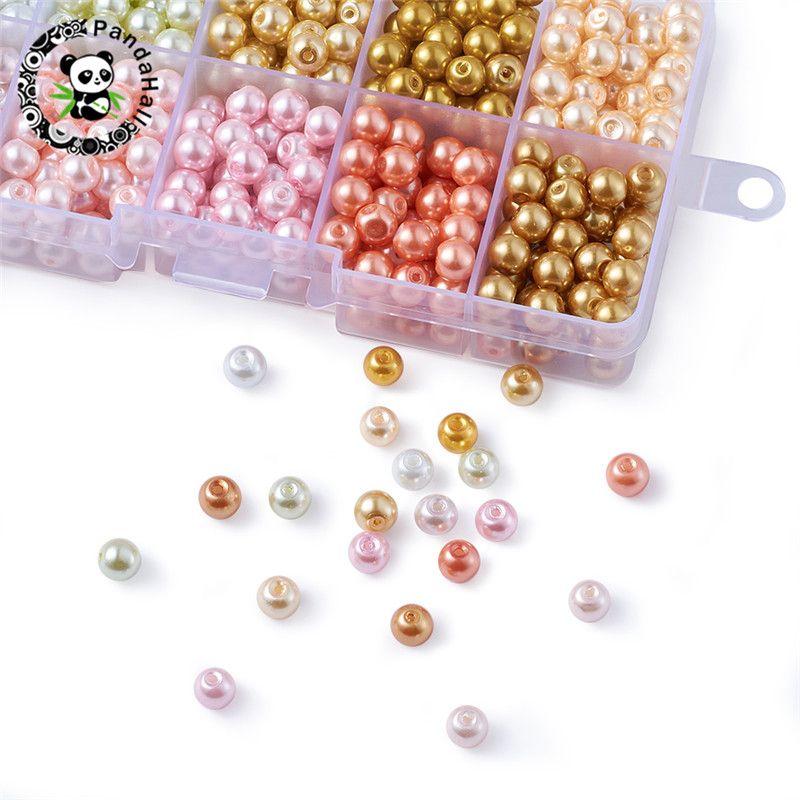 6mm 550 pièces couleur mélangée ronde Imitation perle perles verre lâche perle pour la fabrication de bijoux Fit à la main bracelet à bricoler soi-même collier