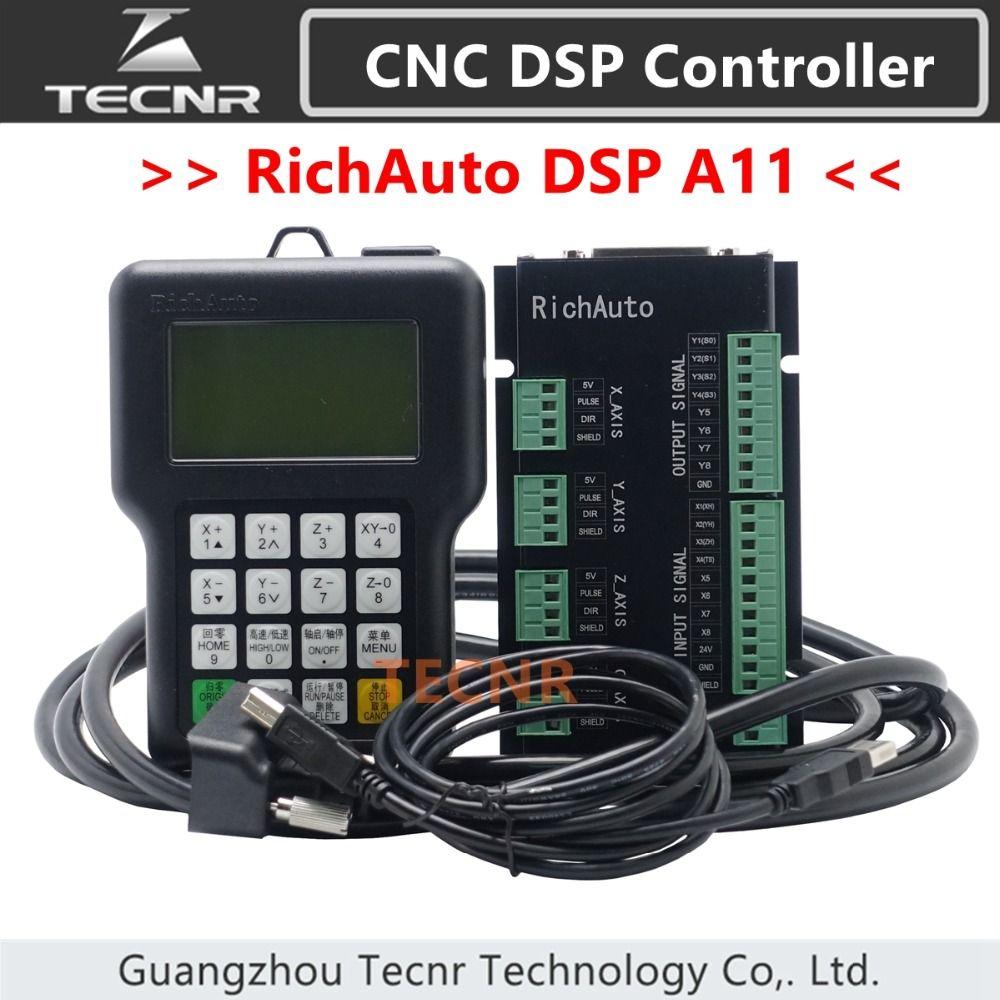 TECNR RichAuto DSP A11 contrôleur de CNC A11S A11E contrôleur de mouvement 3 axes à distance pour gravure et découpe de CNC version anglaise