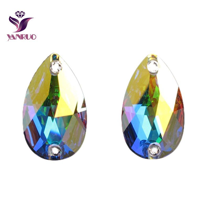 YANRUO 3230 goutte cristal AB strass coudre des cristaux de larme pierres de verre coudre sur strass Flatback broderies