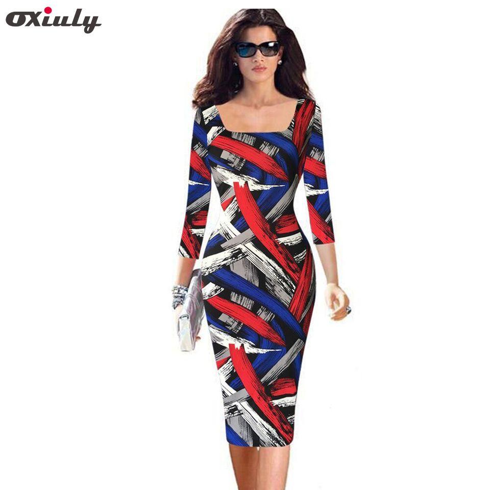 Oxiuly nouveau femmes décontracté gaine rayé trois-quarts naturel SquareCollar travail porter extensible genou-longueur gaine robe