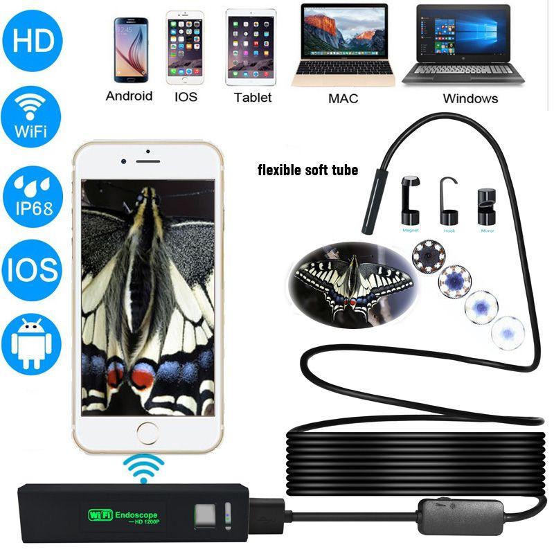 Letike USB Endoscope Inspection Camera HD 1200P IP68 Soft Flexible Tube Wireless Wifi Borescope Video Inspection forAndroid/iOS