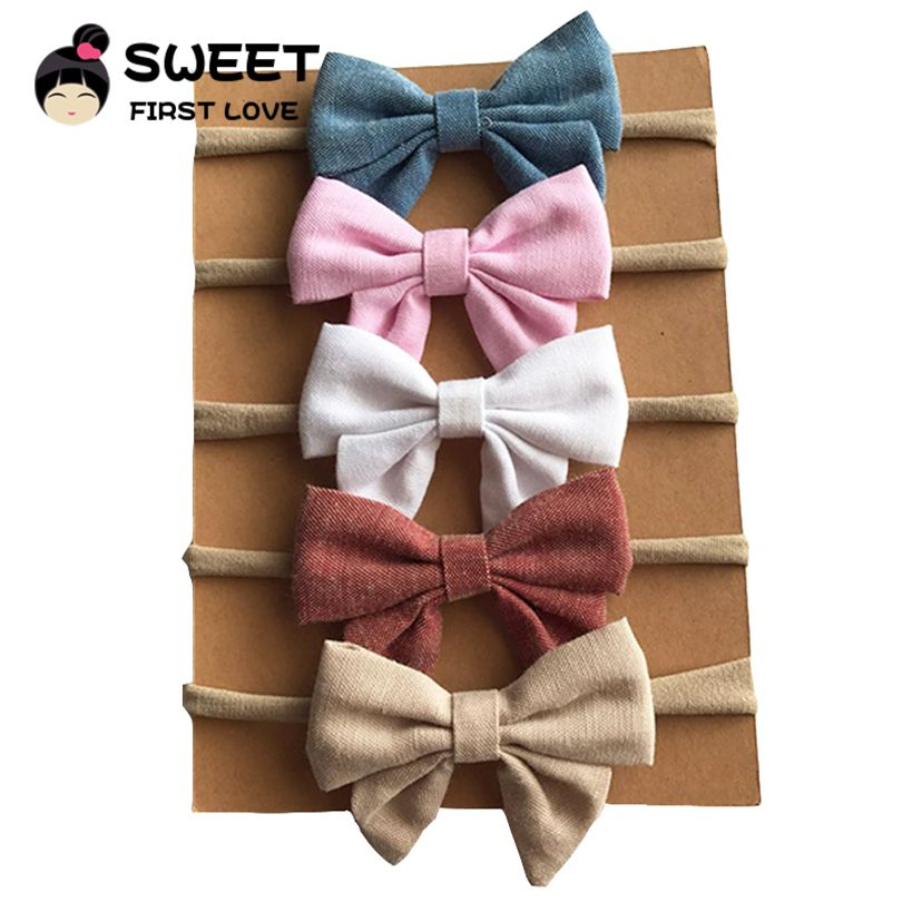 5pcs/lot 9colors Handmade Newborn kids Bow Nylon Headbands Soft Nylon Headwear Nylon Elastic Head band