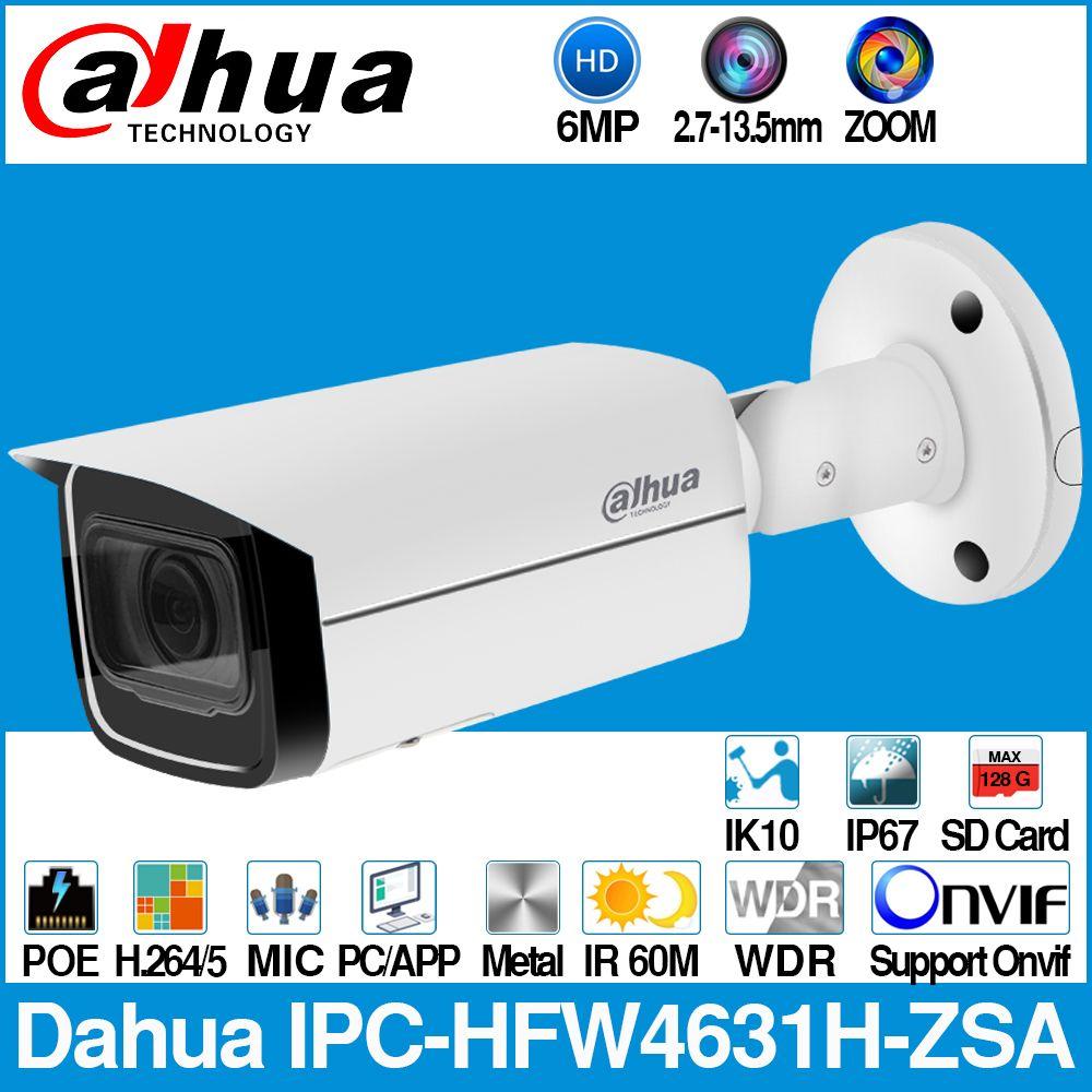 Dahua IPC-HFW4631H-ZSA 6MP IP Kamera Eingebaute MiC Micro SD Card Slot 2,7-13,5mm 5X Zoom VF Objektiv PoE WDR CCTV Kamera mit halterung