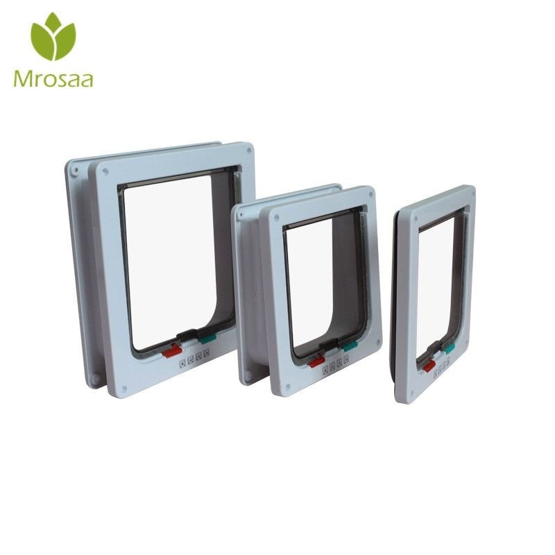 Mrosaa Intellgent Control 4 Way Safe Cat Gate Doors ABS Animal Small Pet Cat Dog Door Pet Supplies Flap Door Pet Kitten door