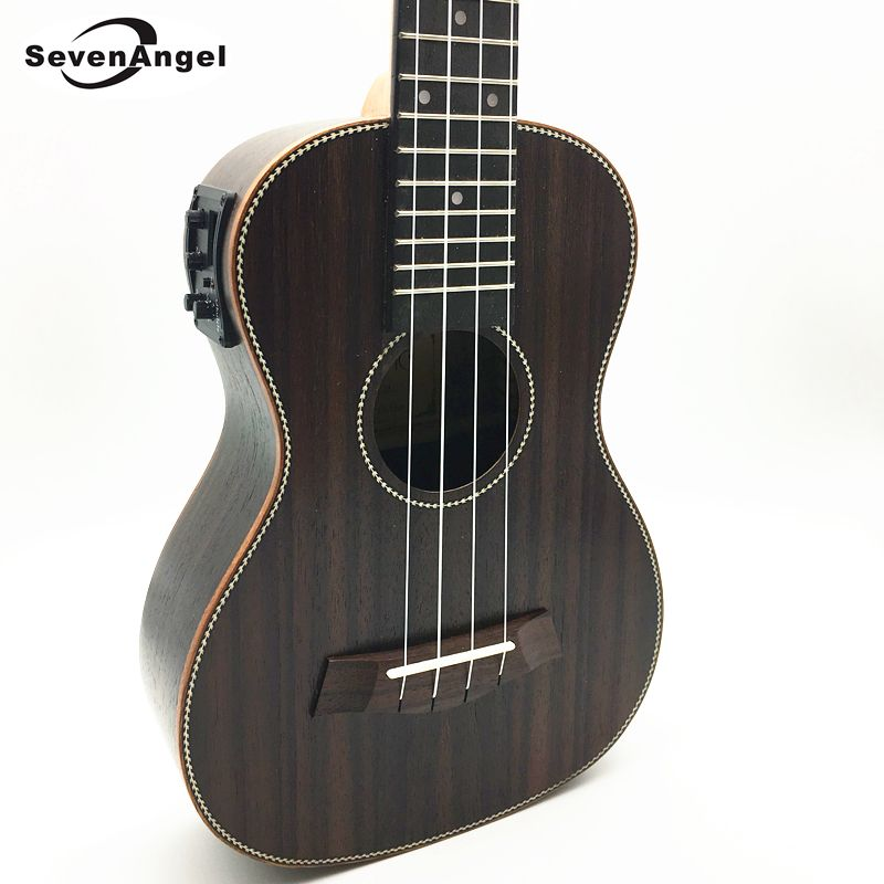 SevenAngel Concert Electric Acoustic Ukulele 23 inch Rosewood Hawaiian 4 Strings Guitar 17 Fret Electric Ukelele with Pickup EQ