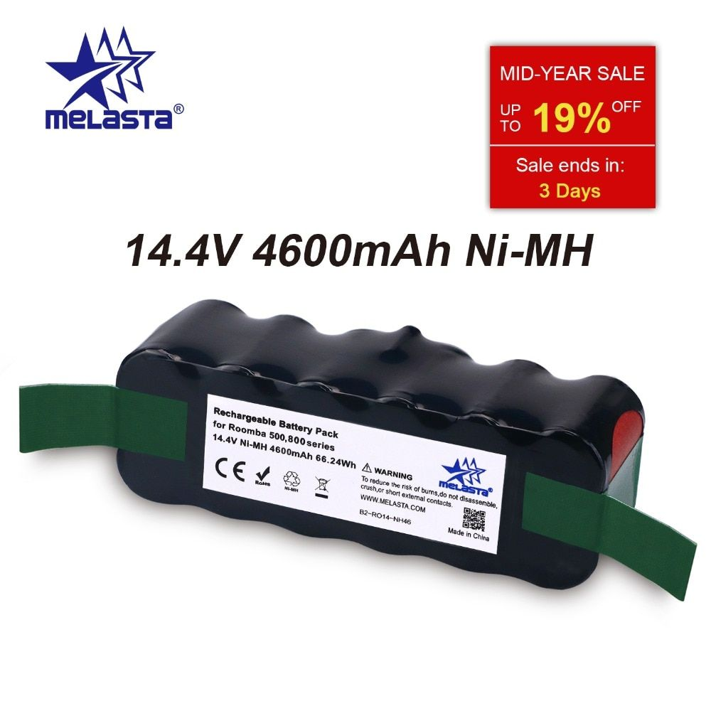 Updated Capacity 4.6Ah 14.4V NIMH battery for iRobot Roomba 500 600 700 800 Series 510 530 550 560 620 650 770 780 870 880 R3