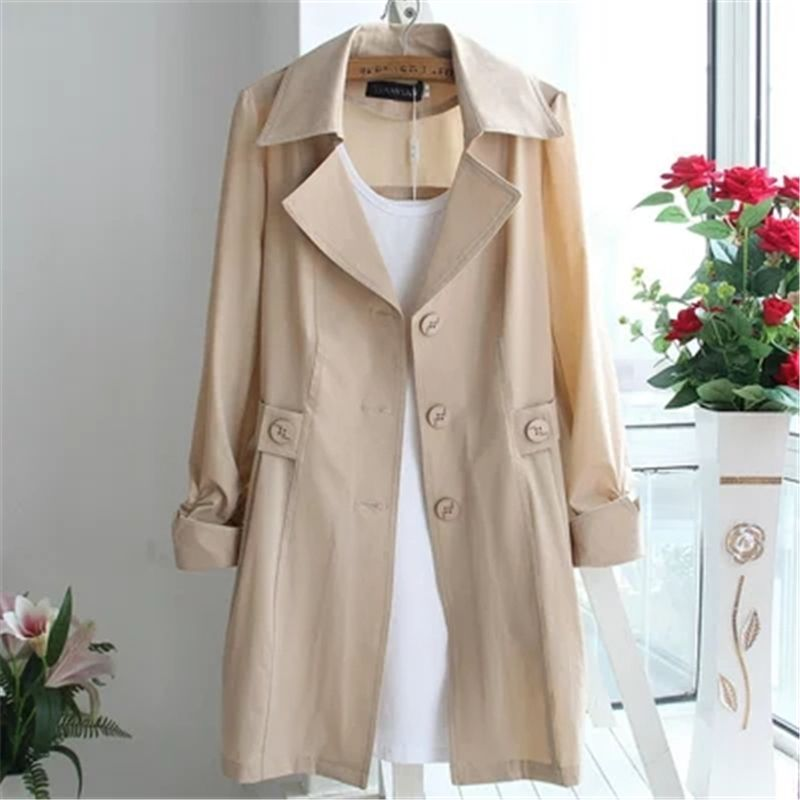 2018 Spring Summer Women Long Trench Coats Korean Plus Size Three-quarter Sleeve Thin Windbreaker Female Long Cardigan Coat A460