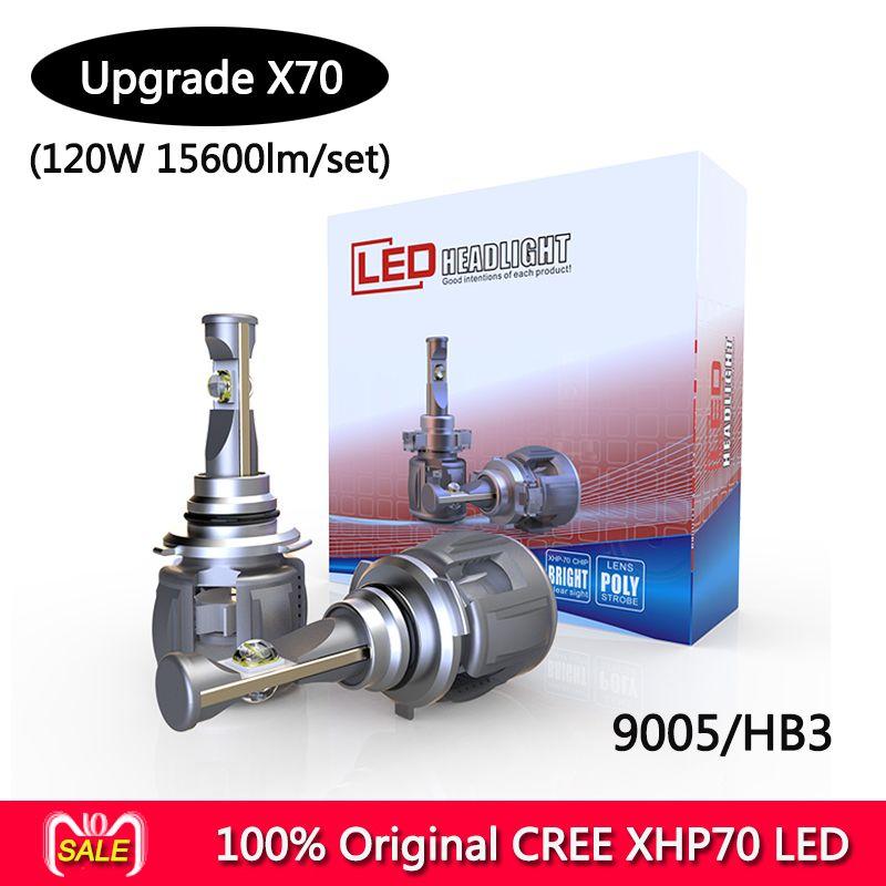 1 Set P70 120W 15600LM hb3 Car LED Headlight Kit CR-EE XHP70 Chip Super White 6000K Driving Fog Lamp Bulbs H4 H8 H11 9005/6 9012