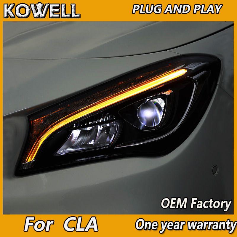 Auto Styling Kopf Lampe Für Benz CLA 2014-2018 Scheinwerfer ALLE LED Scheinwerfer Tagfahrlicht DRL Bi- FÜHRTE OBJEKTIV