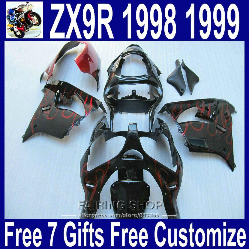 Ems-freies verkleidung kit ZX9R 1998 1999 98 99 Für Kawasaki ninja (schwarz rot flamme) vollkunststoff teile Verkleidungen xl27