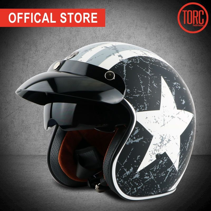 TORC motorcycle vespa helmet vintage open face 3/4 helmet inner visor motocross jet retro capacete casque moto helmet ECE T57