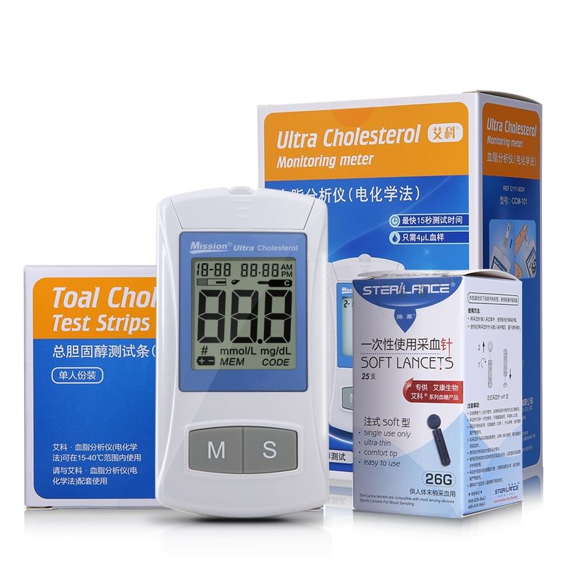 On Call Blood Lipid Analyzer Test Cholesterol Blood Fat Meter Multi Function Measurement Device with 25pcs Test Strips Home Use