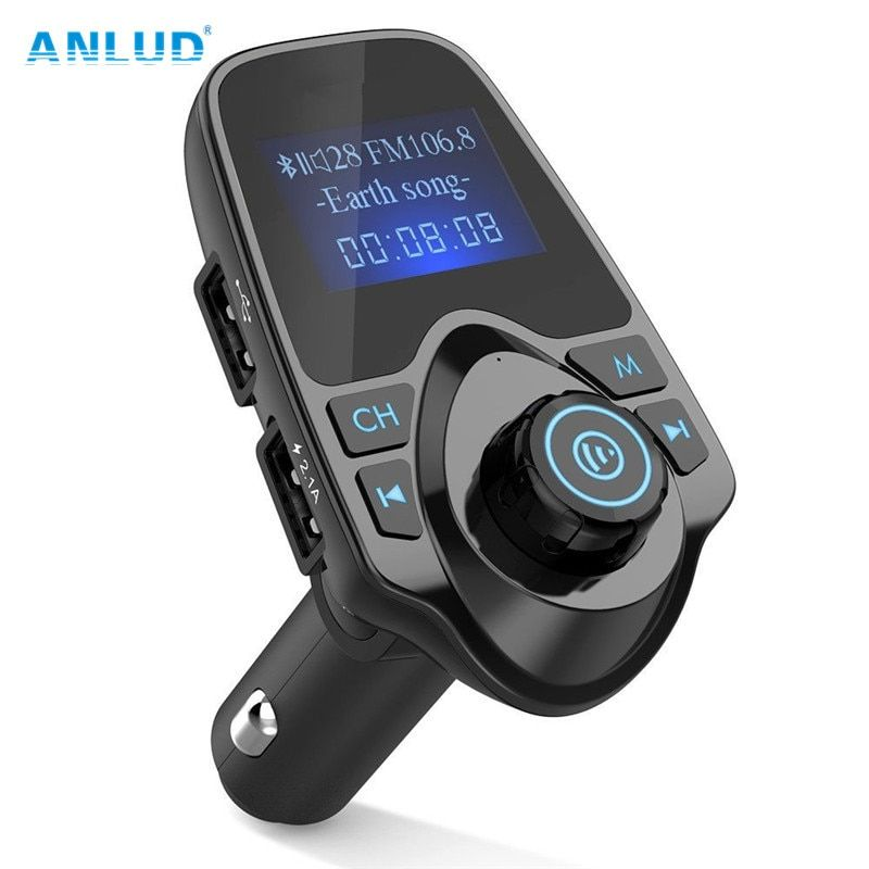 ANLUD Bluetooth Wireless Car Mp3 Player Handsfree Car <font><b>Kit</b></font> FM Transmitter A2DP 5V 2.1A USB Charger LCD Display Car FM Modulator