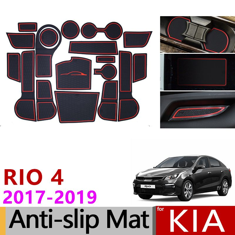 for Kia Rio 4 X-Line RIO 2017 2018 2019 Anti-Slip Rubber Cup Cushion Door Groove Mat 18pcs Accessories Car Styling Stickers