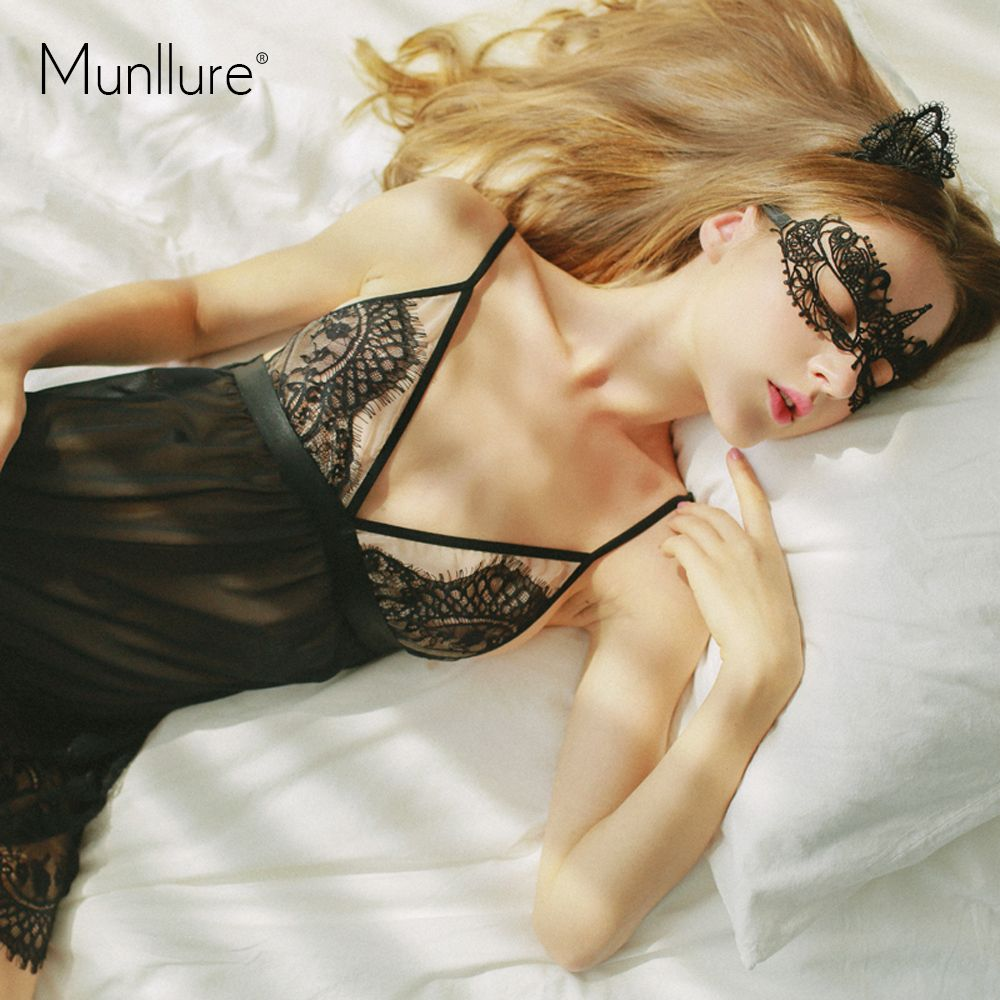 Munllure 2017 New Arrival Summer Ultra thin Sexy Embroidery Women Nightie Lounge Nightwear Lace Robe Set for Lady Home Clothes