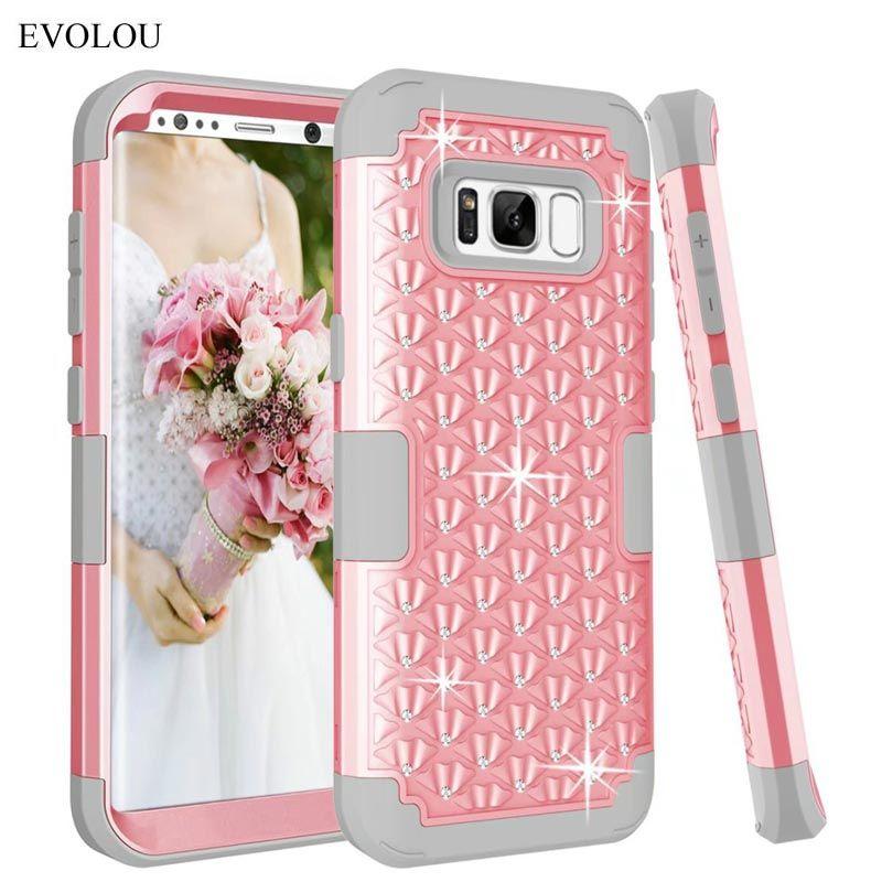 Coque en silicone rigide armure hybride pour Samsung Galaxy S8 Plus Diamond 3 en 1 coques de téléphone antichoc pour S8plus S8 + couverture robuste